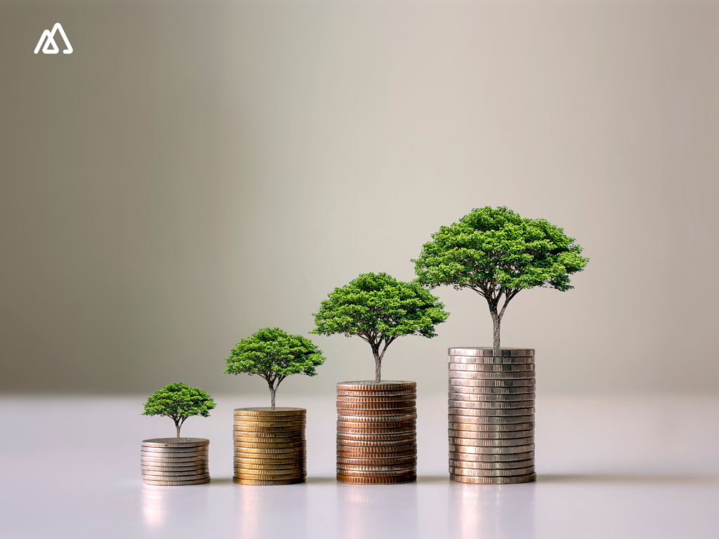 small tress growing and coins