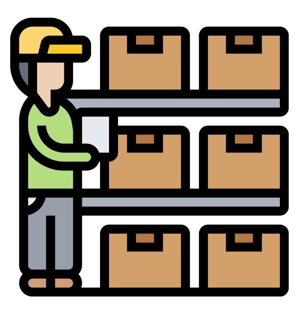 Production line warehouse icon