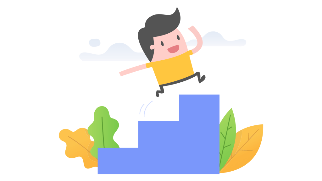 Young man running up stairs illustration