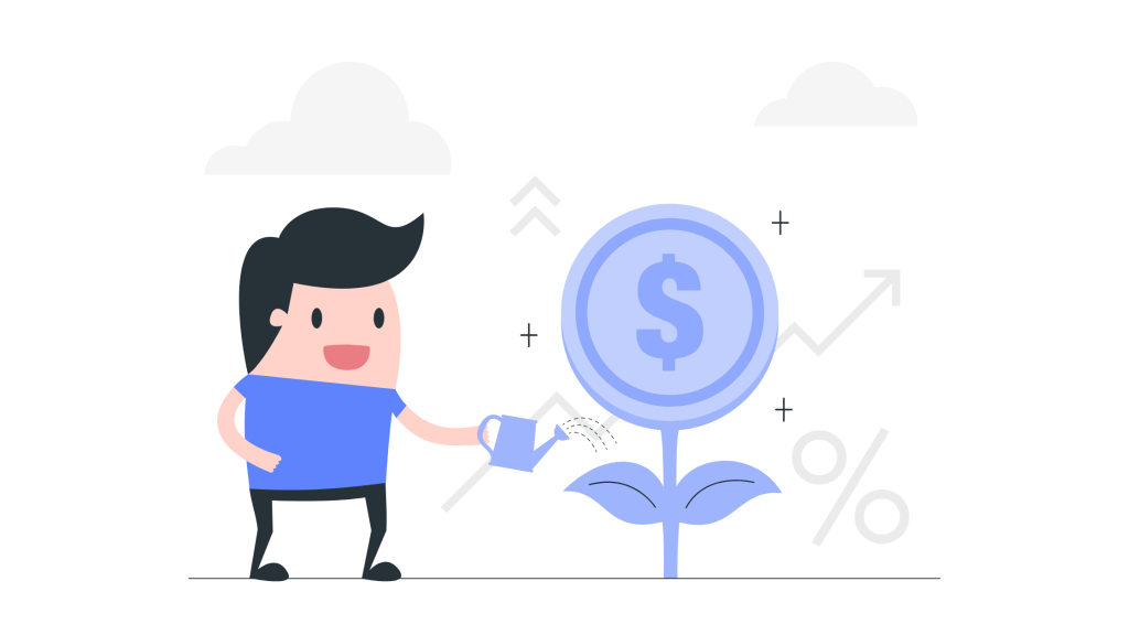Cartoon man watering money plan illustration
