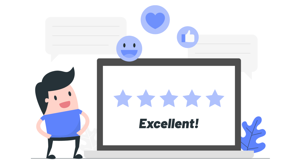Customer review and rating illustration