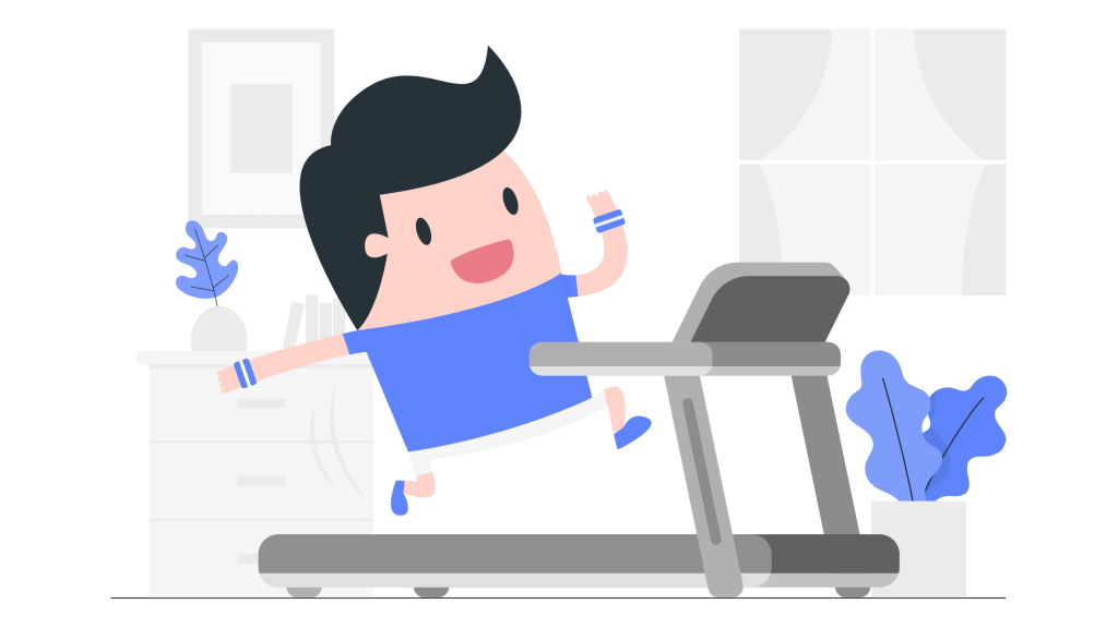 Man running on a treadmill at home illustration