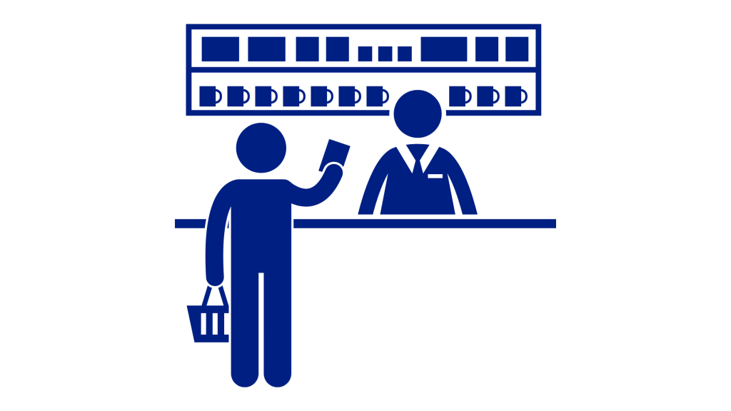 Customer buying product at counter icon