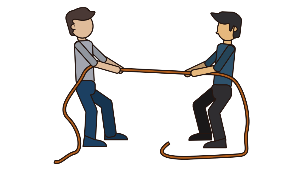 Men pulling rope icon