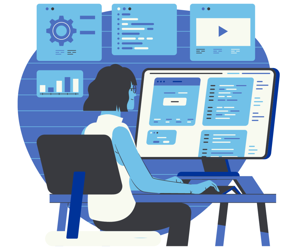 Sales strategy business person desktop analytics