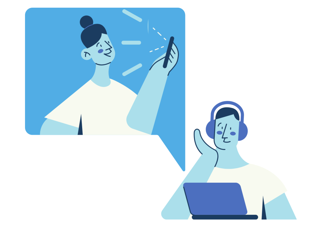Salesperson & customer on a video call illustration