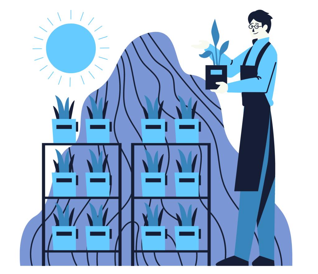 Working man botanist nurturing plants