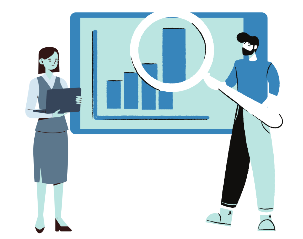Businessman analyzing graph for woman customer