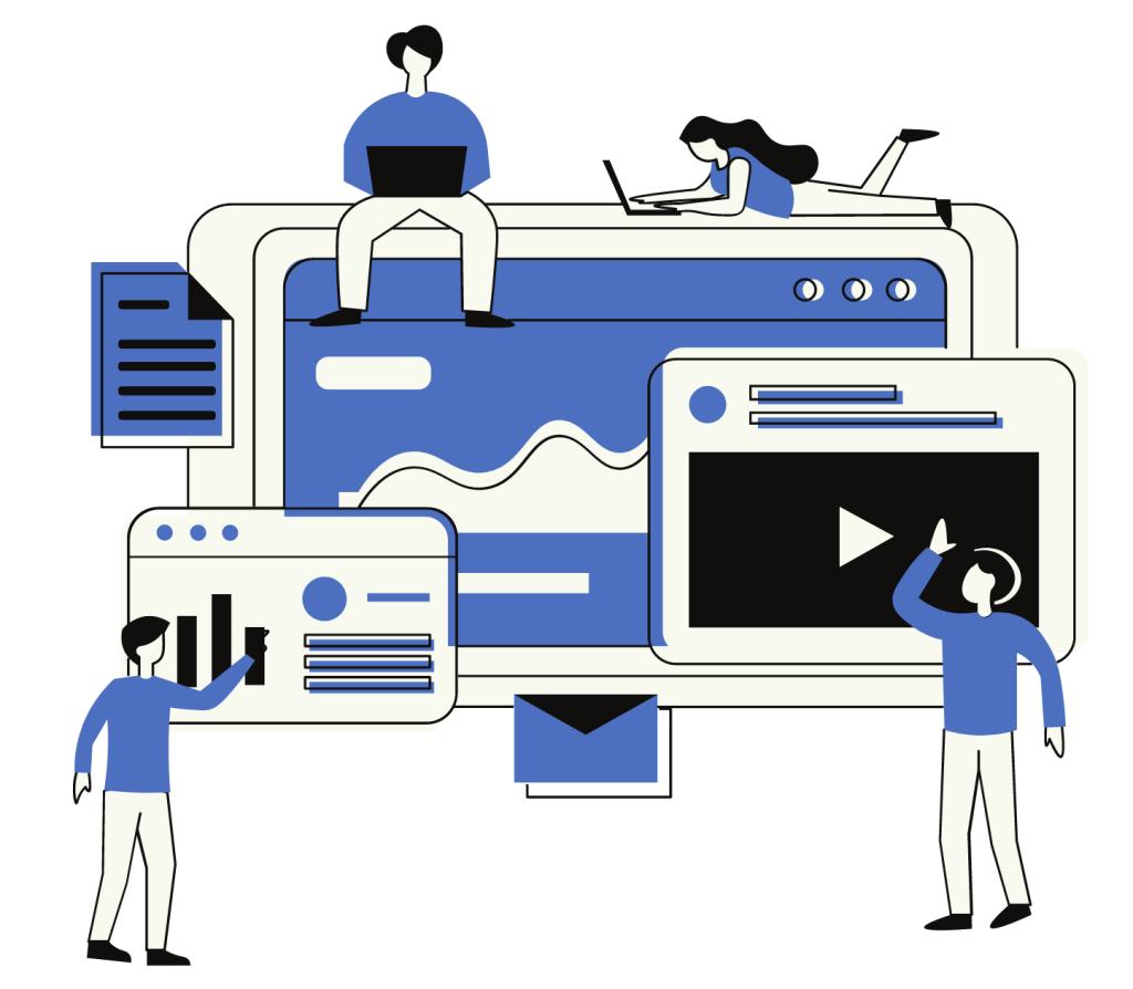People doing sales illustration