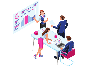Business meeting and reports illustration
