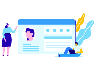 People and profile browser window illustration