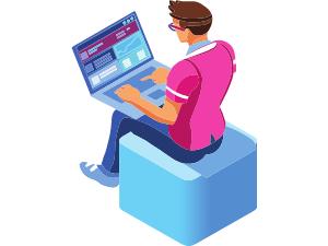 Programmer laptop illustration