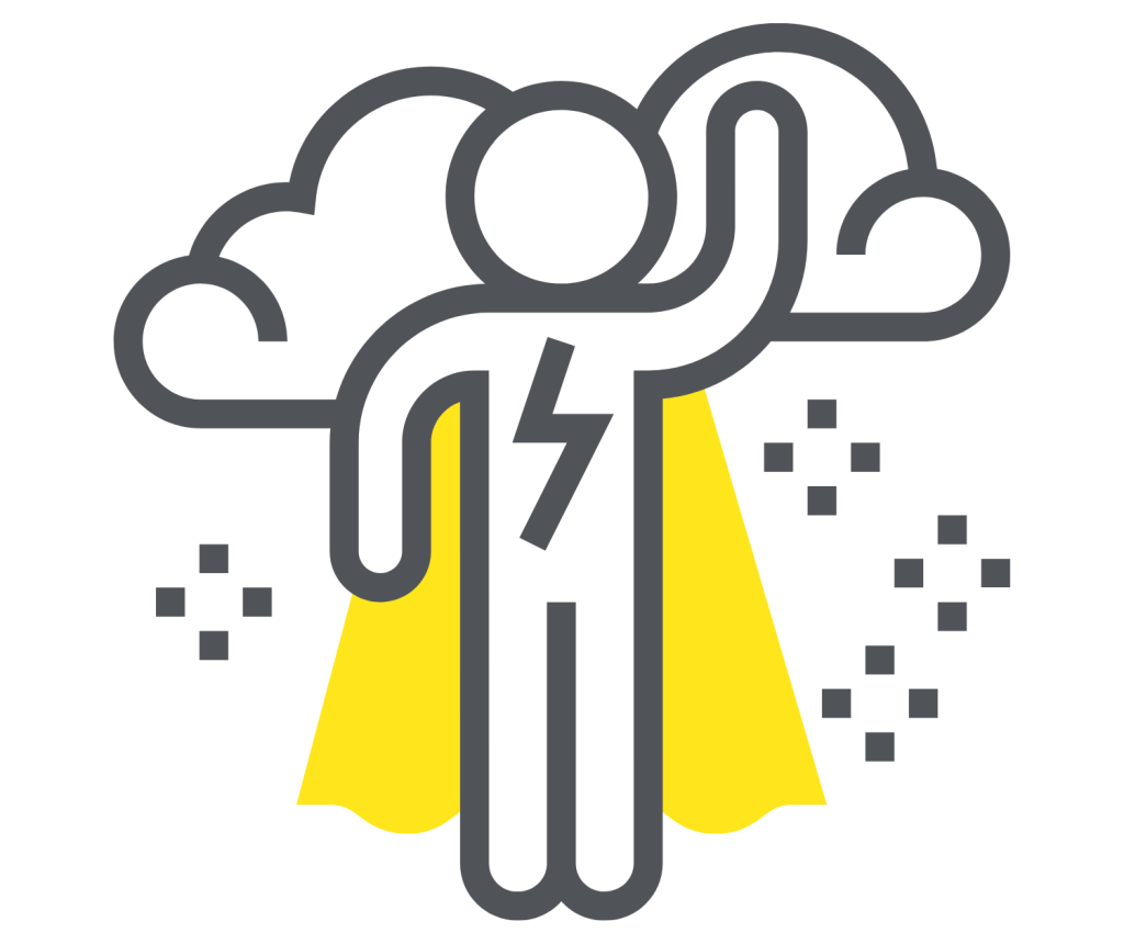 Motivated salesperson with yellow cape and cloud giving sales motivation techniques