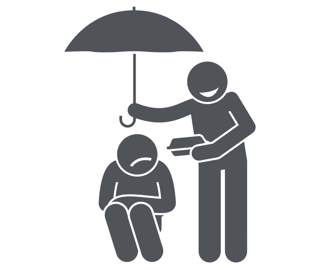 Man giving shade to another man with umbrella as a motivation technique