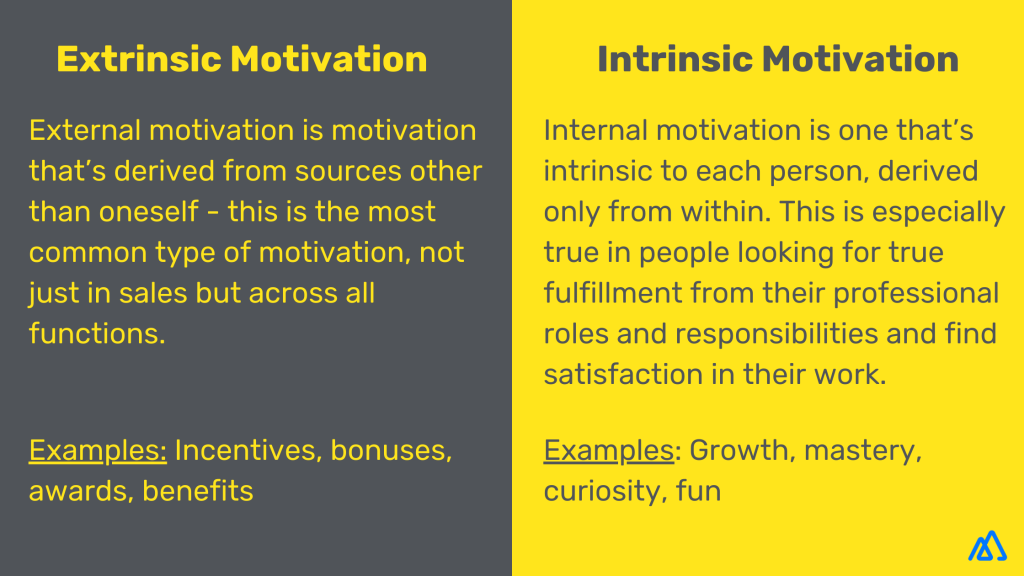 Comparison between extrinsic and intrinsic motivation