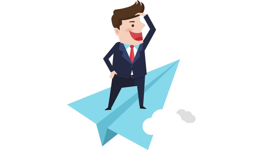 Businessman on a paper rocket