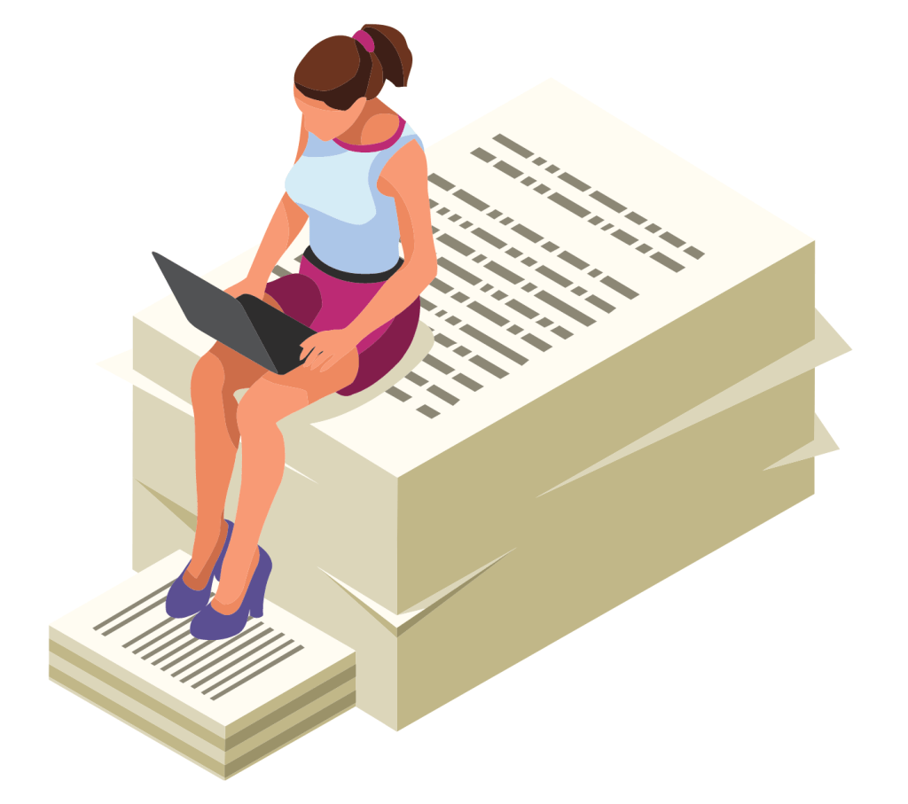 Lady with a laptop sitting on a pile of pages