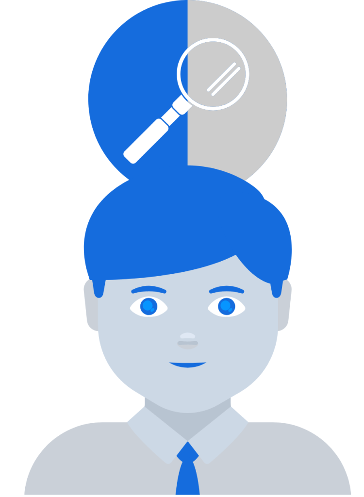 Customer Retention: Man with a magnifying glass on his head