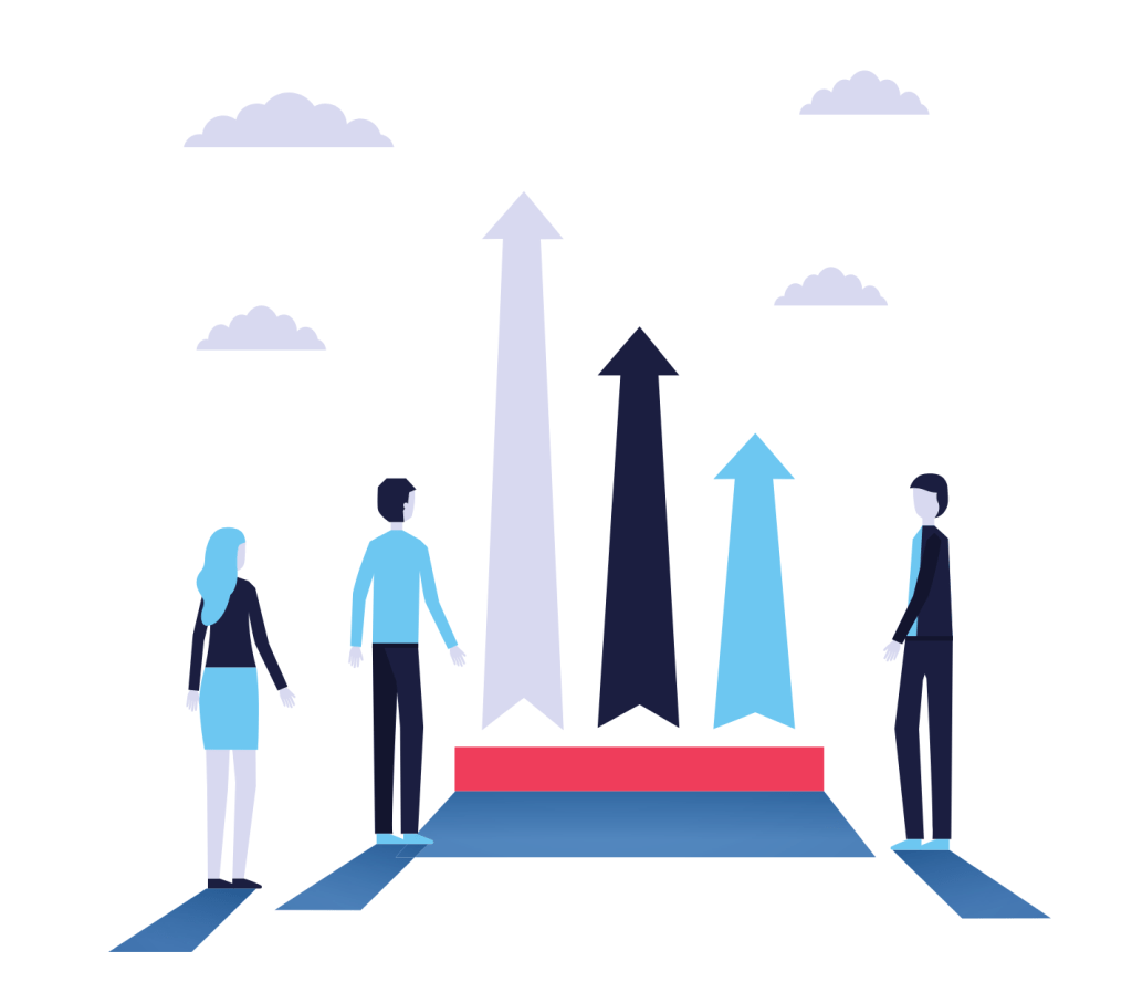 Businesspeople growth arrows