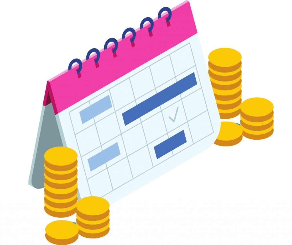 calendar and coins