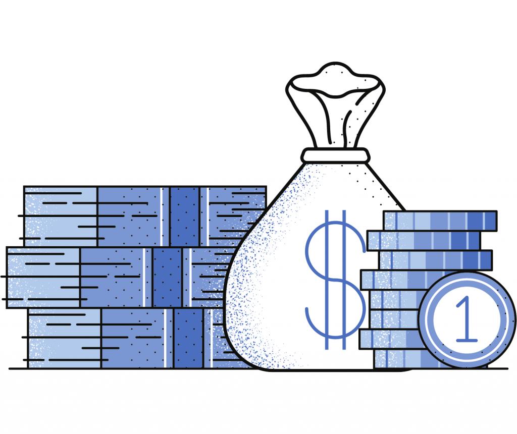 Cash & money bag