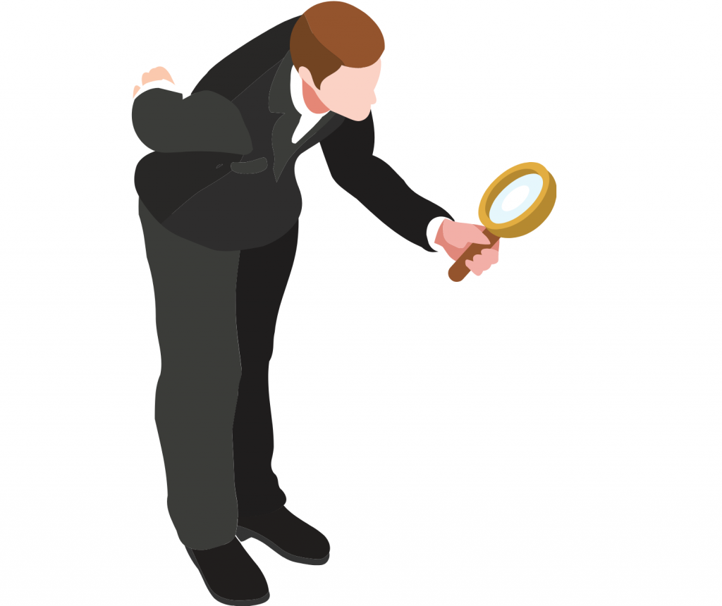 man with magnifying mirror