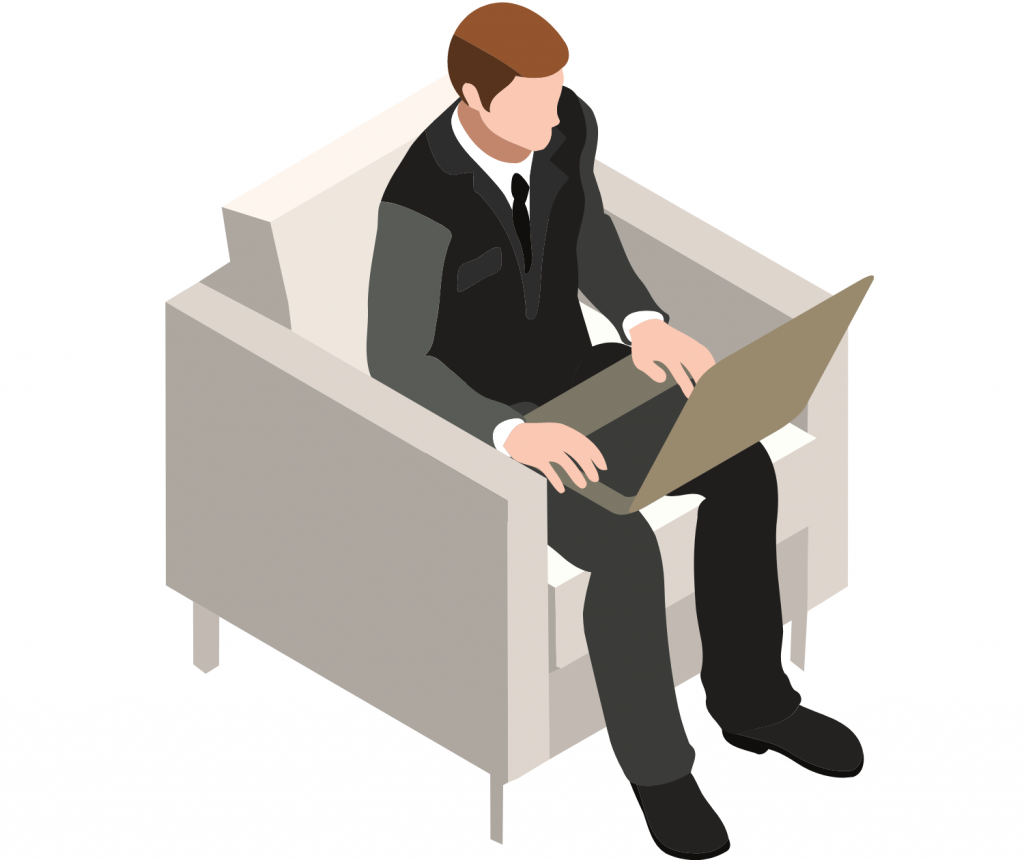 man with a laptop sitting on a couch
