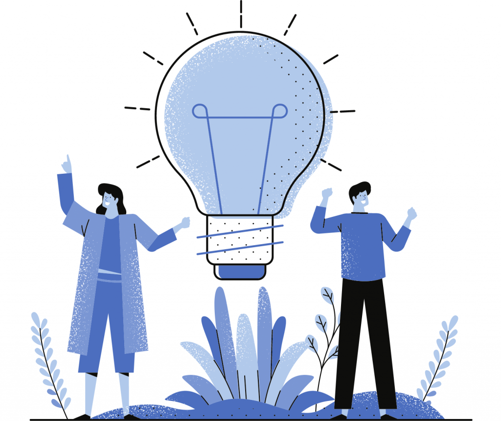 two people with a big bulb