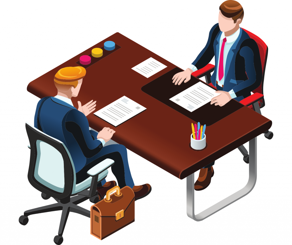 2 men in a meeting