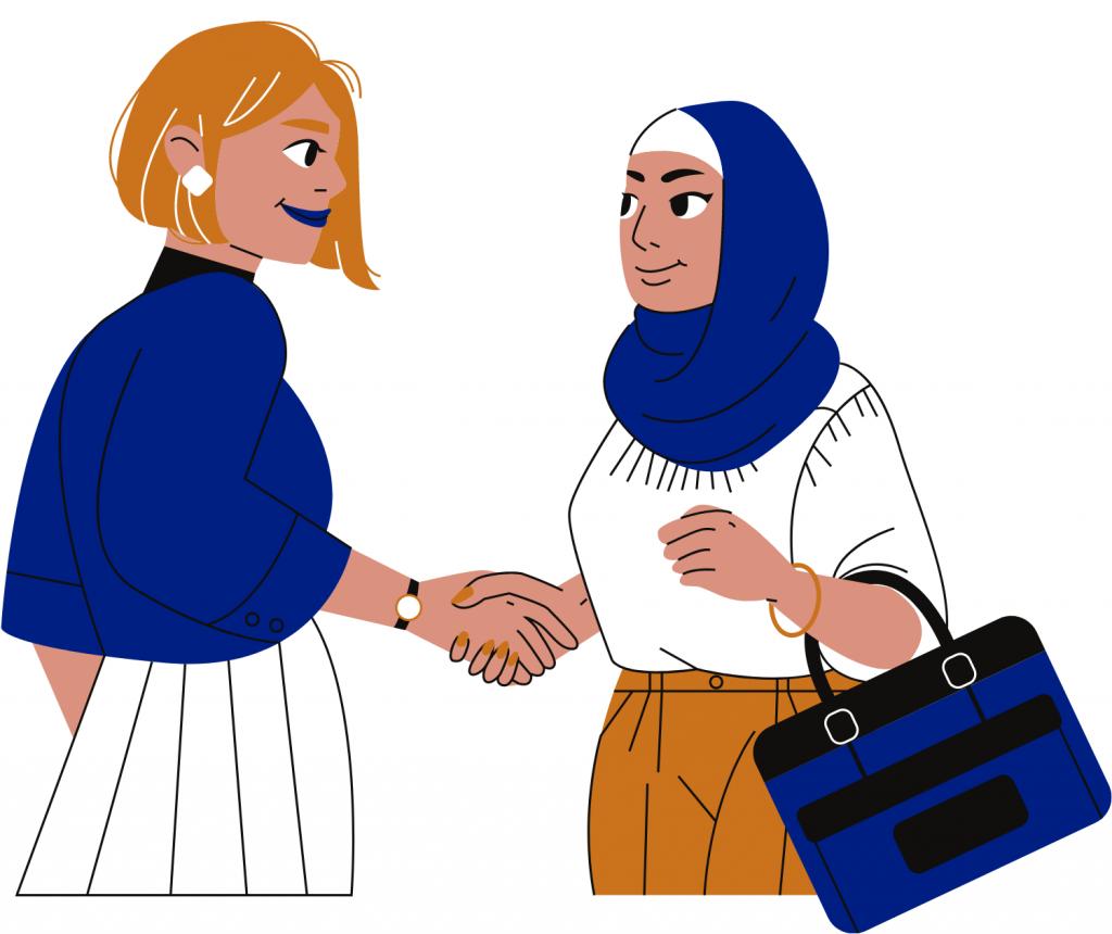 Two women handshaking