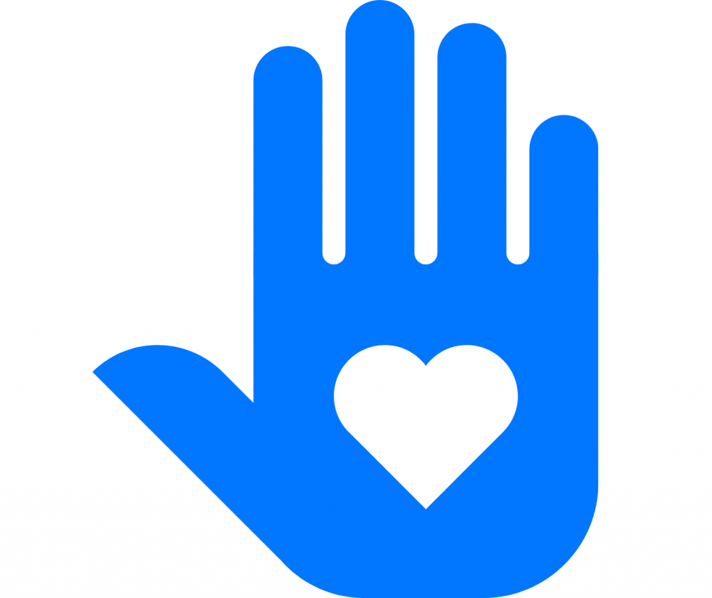 Volunteer sign- palm with a heart in it
