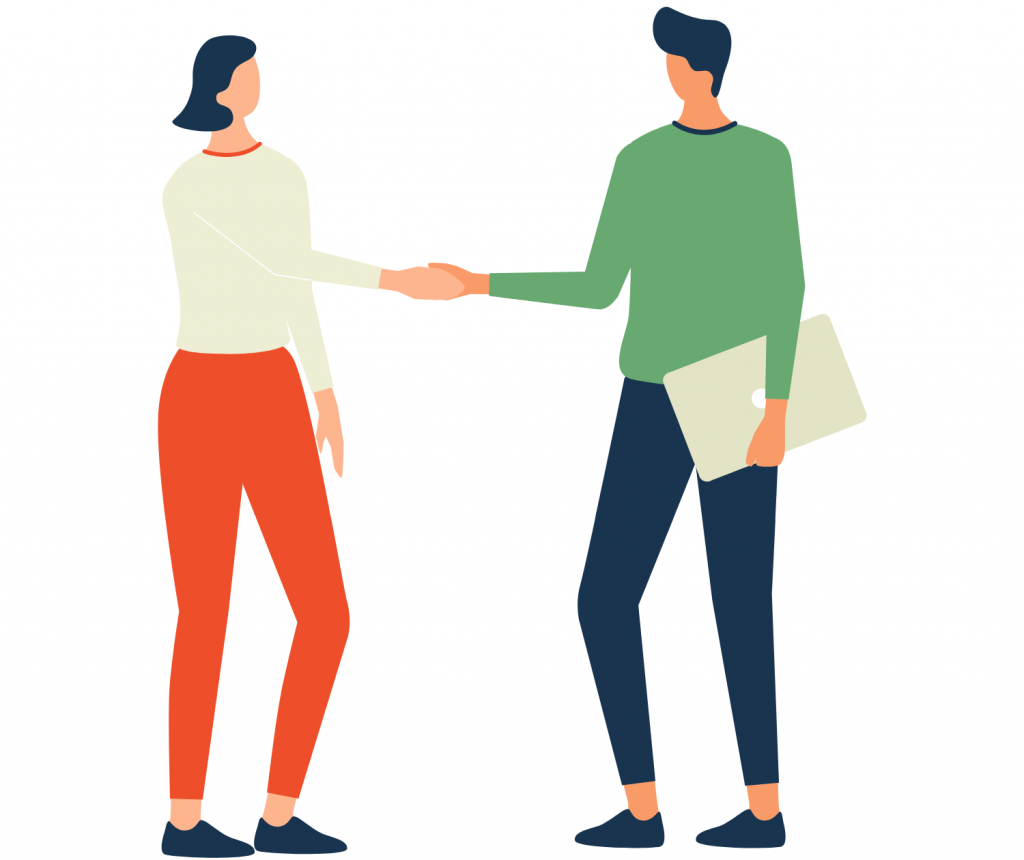 woman handshaking with a man
