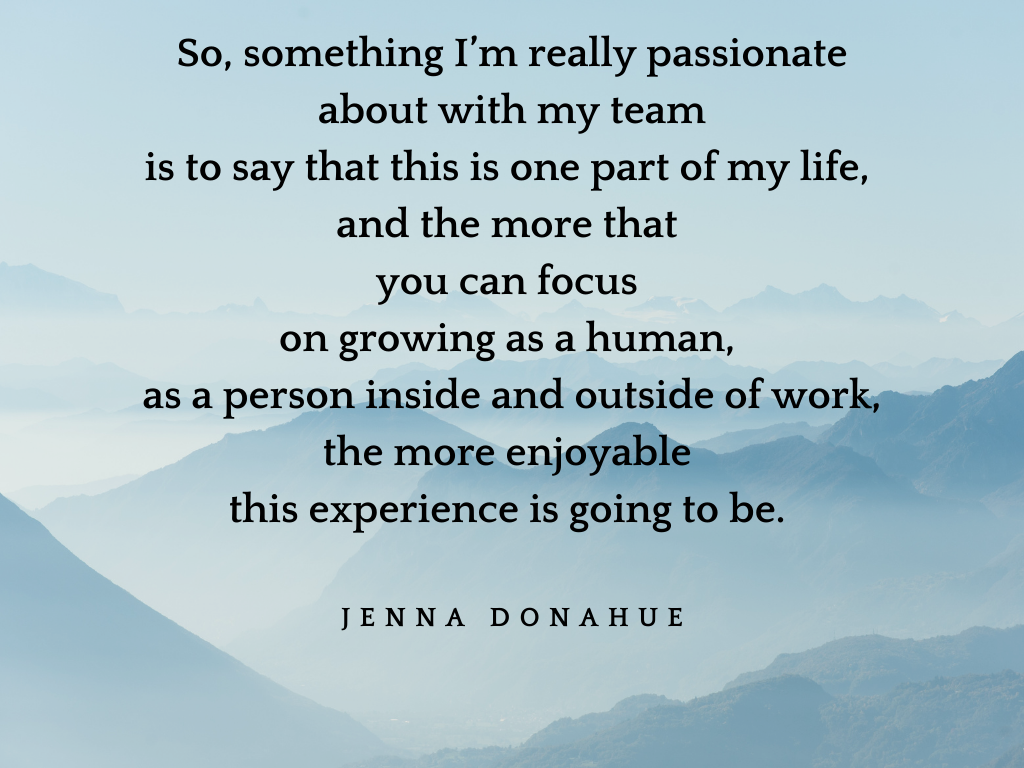 Mountains and a quote by Jenna Donahue