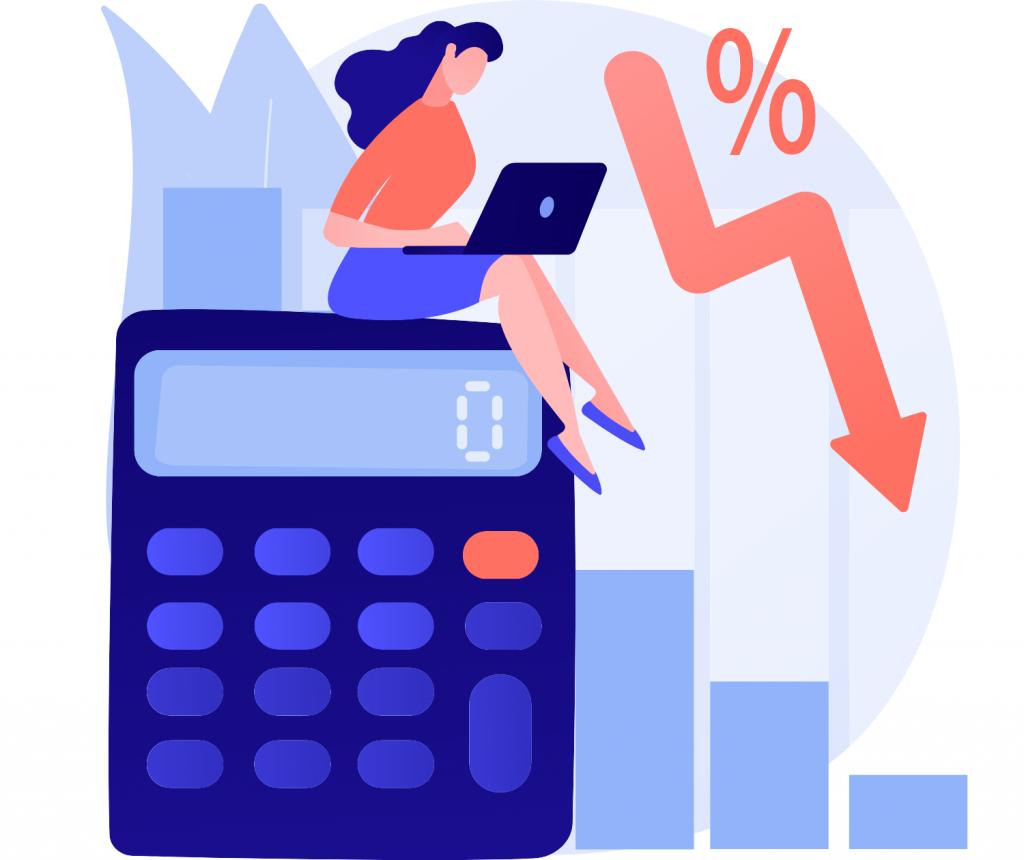 lady sitting on a calculator