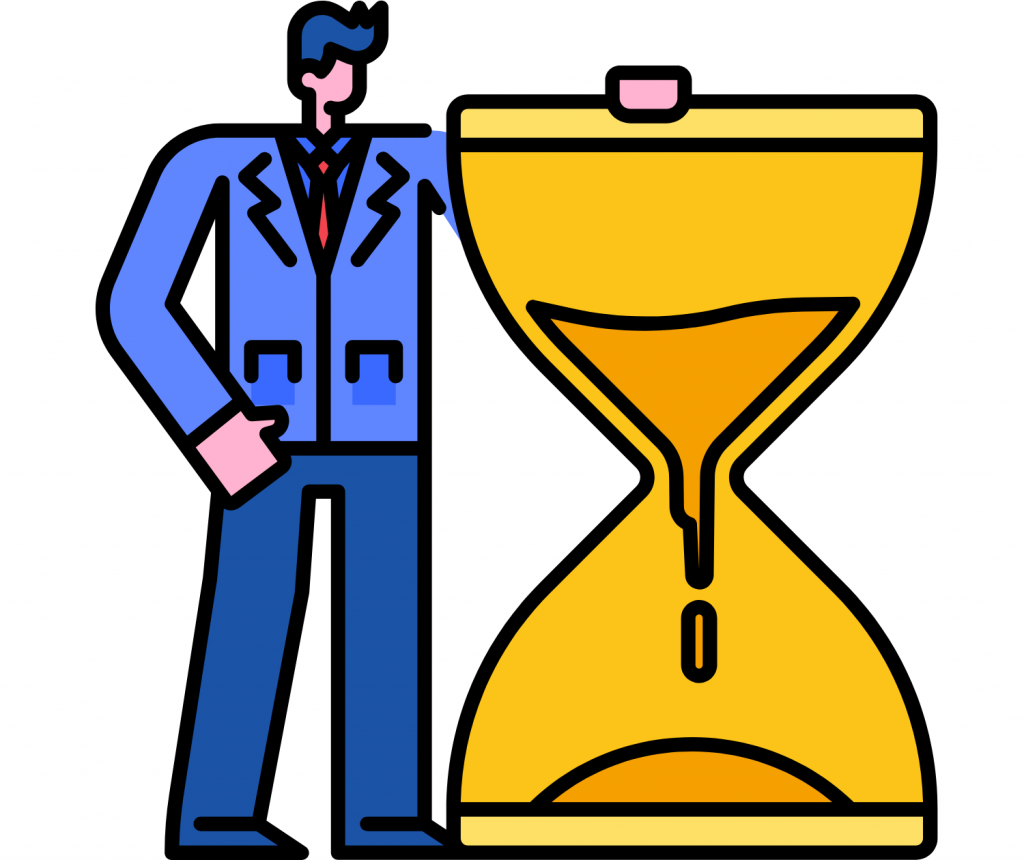 man with a yellow hourglass