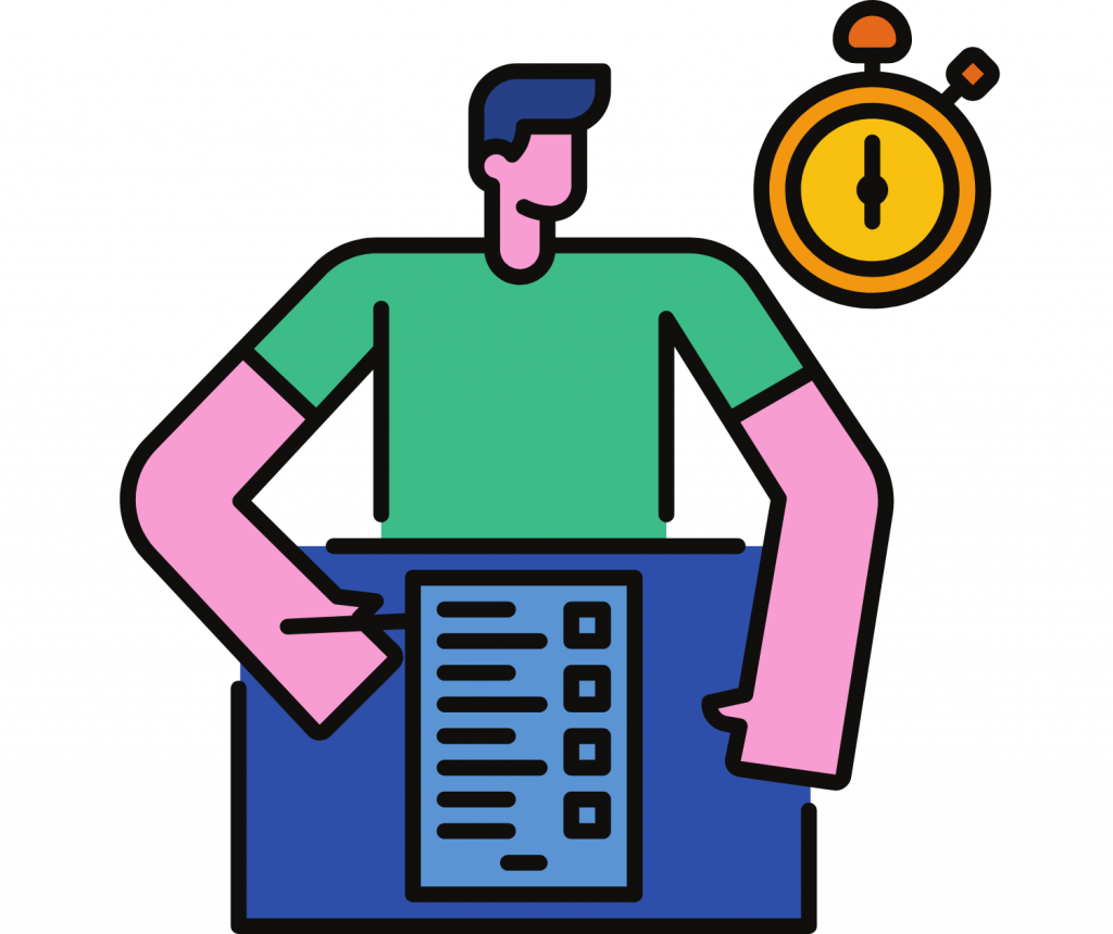 Man with a checklist and a yellow clock