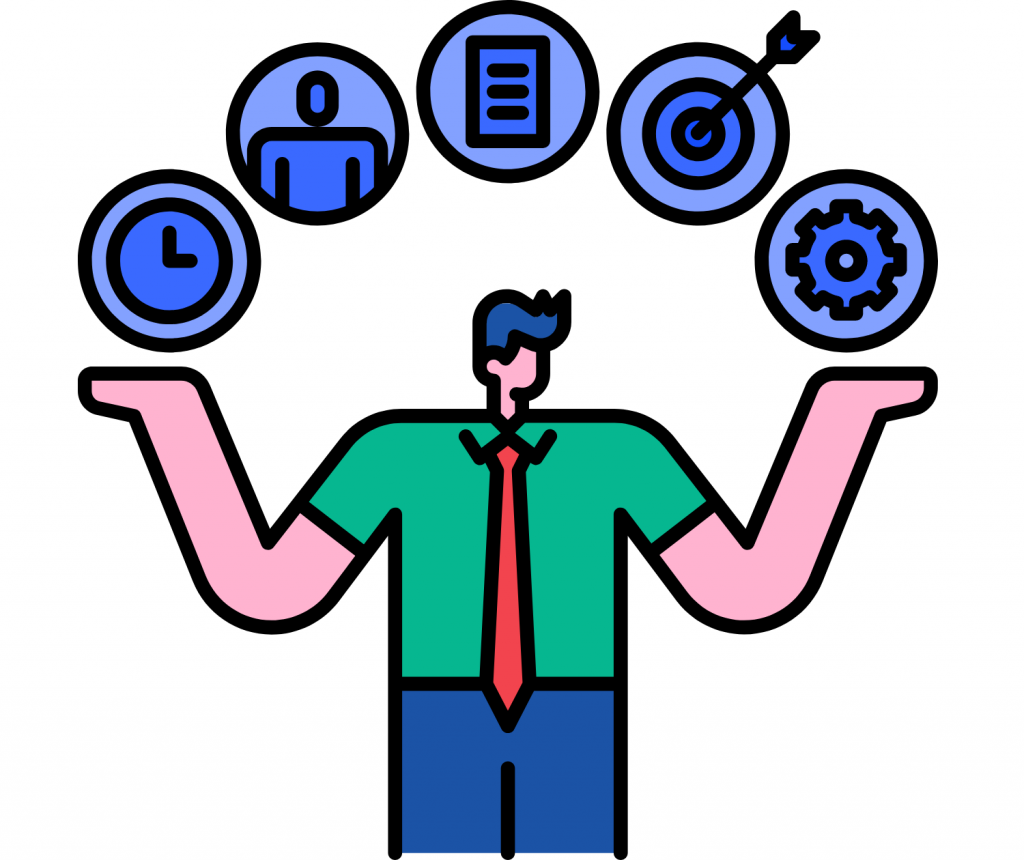 man with open arms and icons of time, target, animation, customer