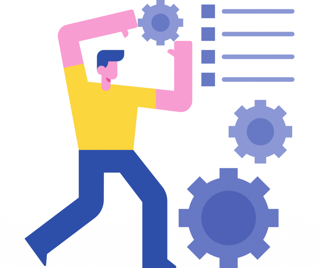 man with automation icons