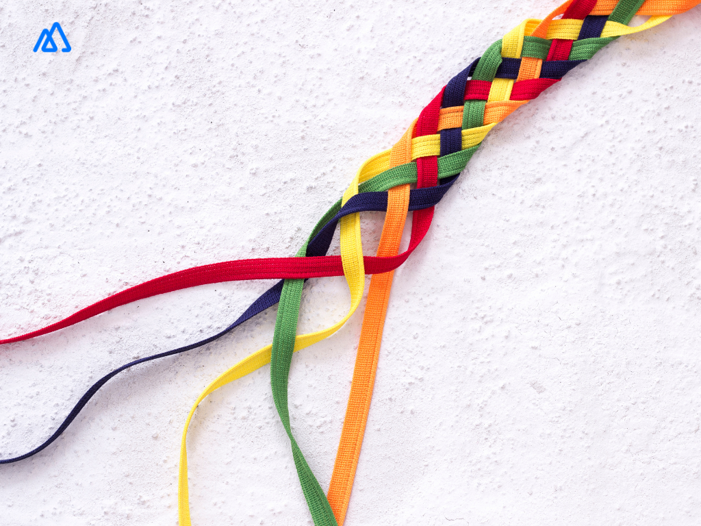 colourful ribbons strung together