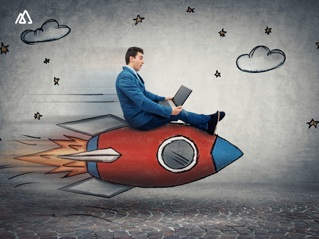 sales person with laptop, on a rocket ship