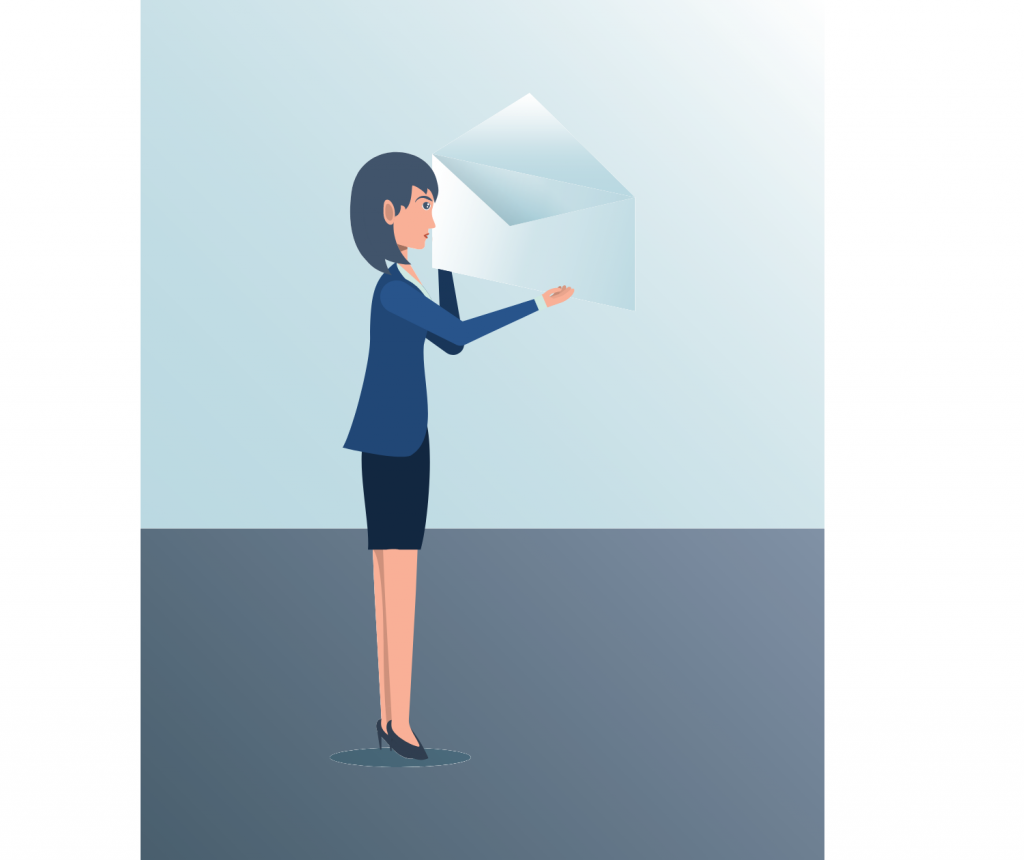businesswoman with an email icon