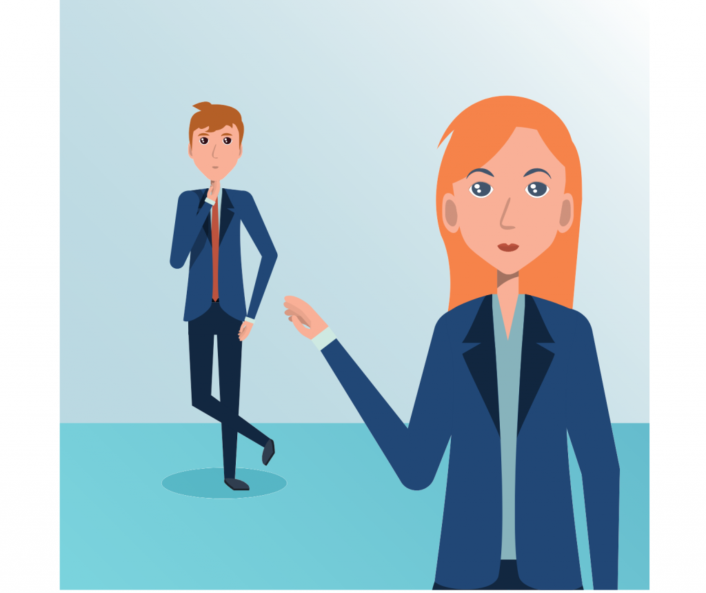 business man and women standing