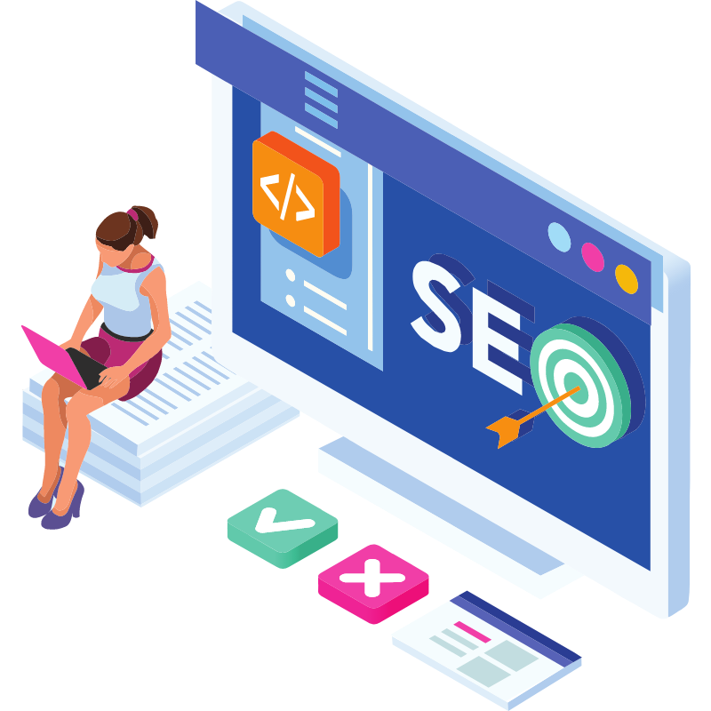 woman sitting on a stack of paper and SEO background