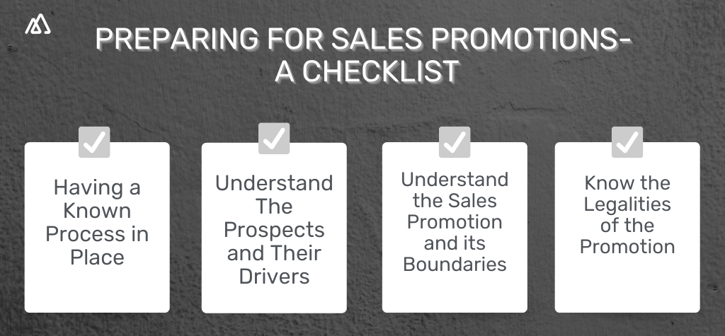 A check list for all the preparations that need to be made before running sales promotions
