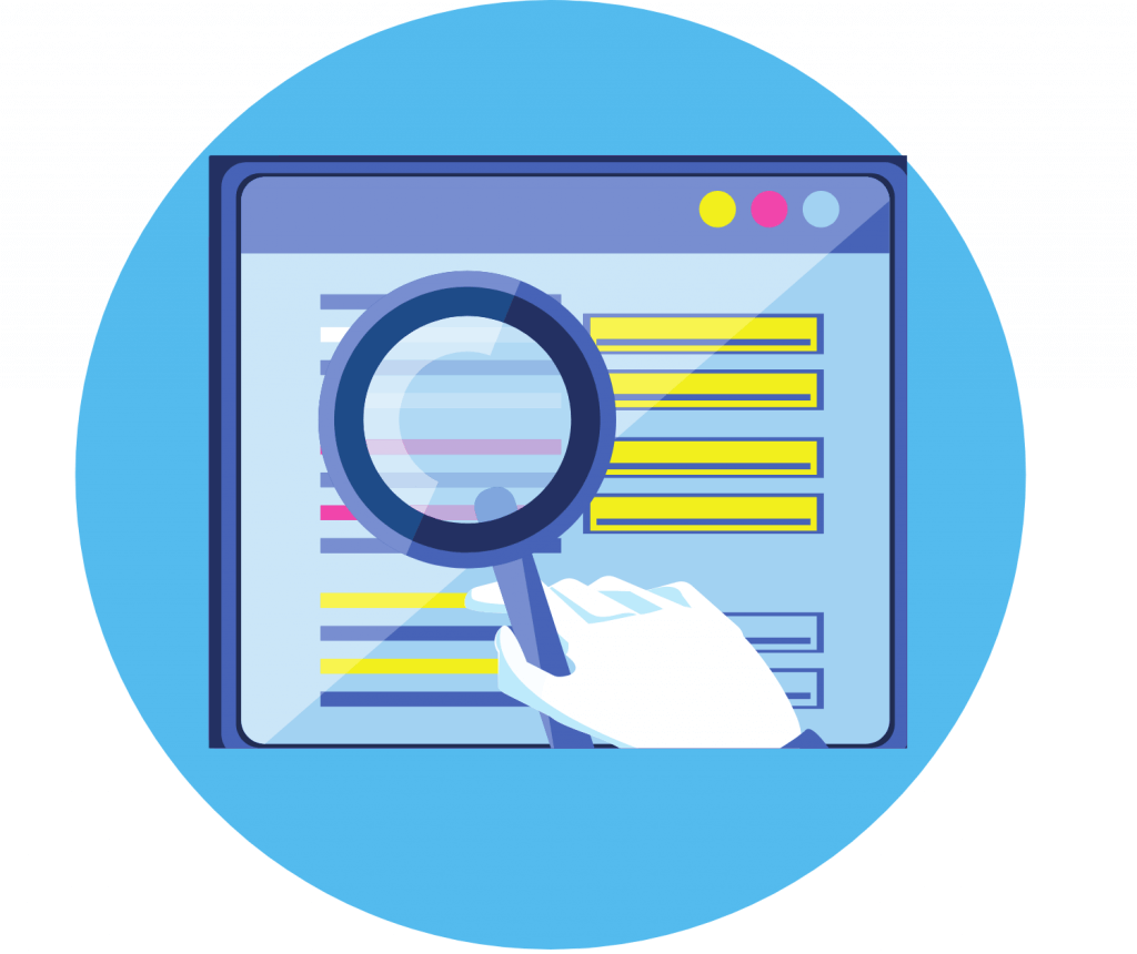 Window with a magnifying  glass on a blue circle showing accessibility on a cloud CRM.