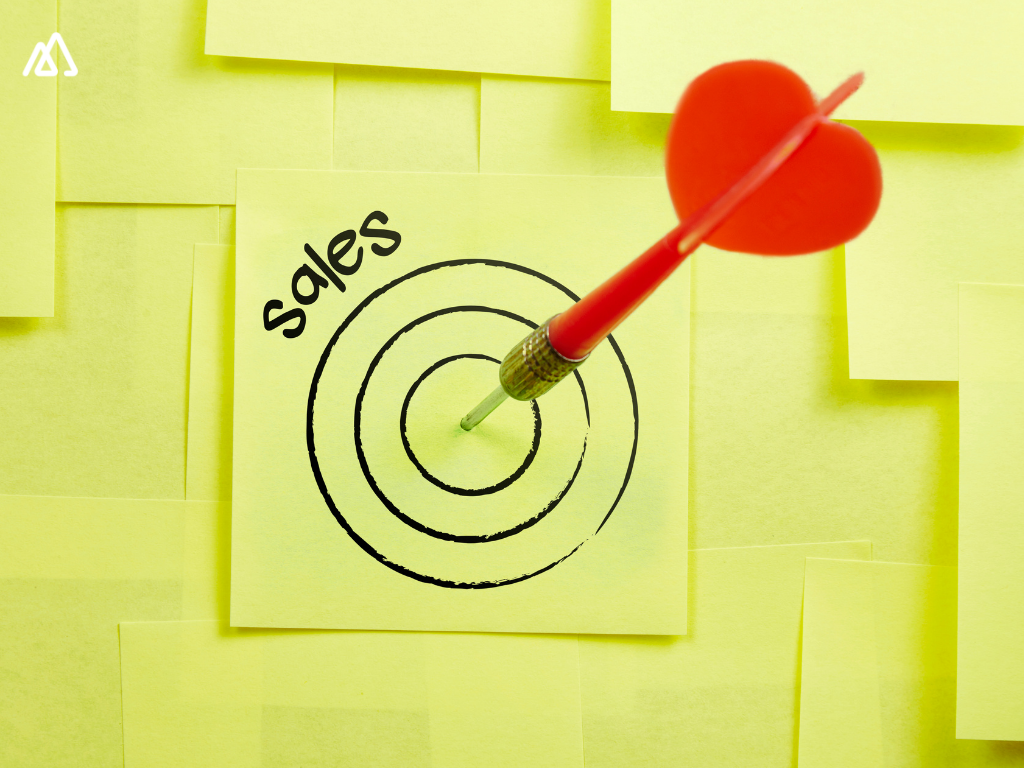 Sales Target hit by red arrow