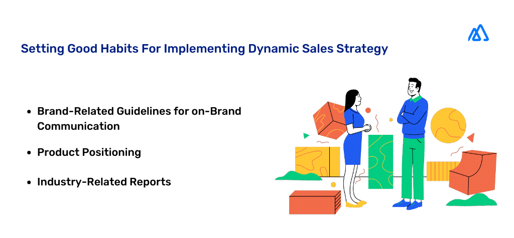 Infographic with a man and a woman explaining Good Habits for implementing a dynamic sales strategy.