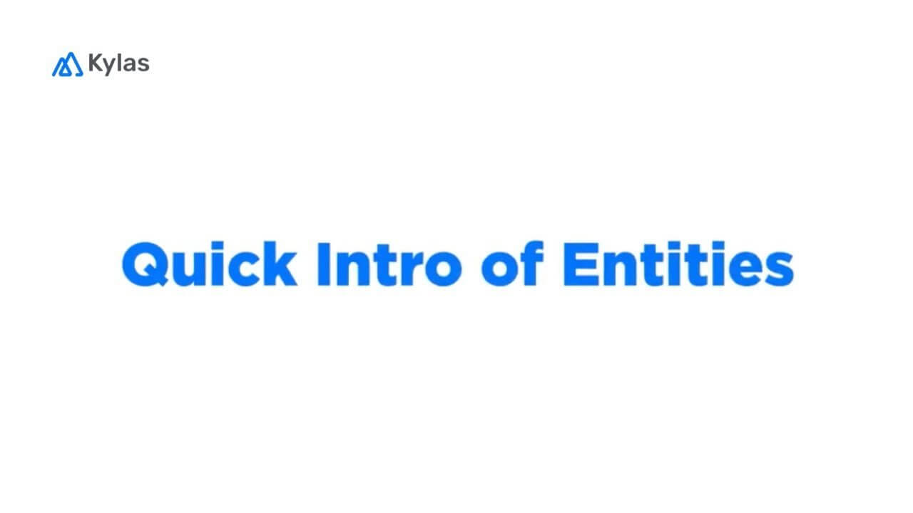 Quick Introduction of Entities in Kylas