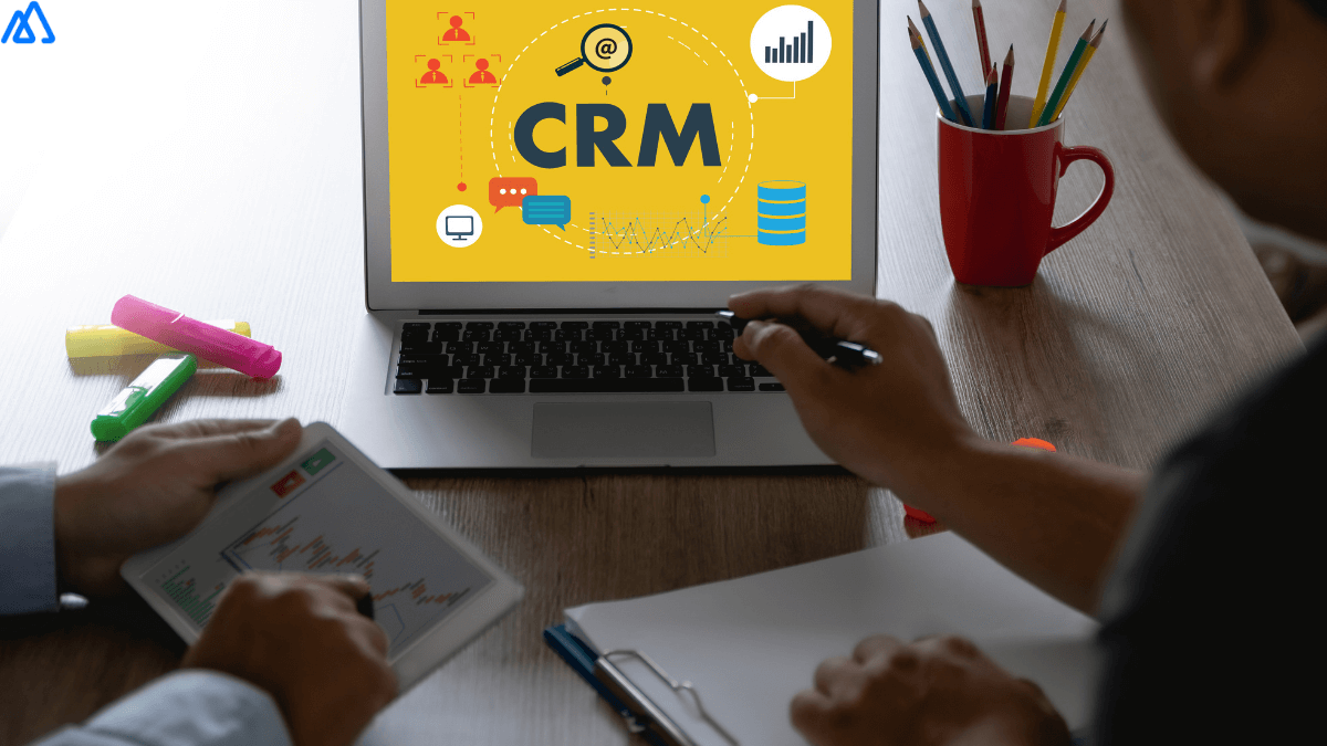 CRM in yellow background in laptop