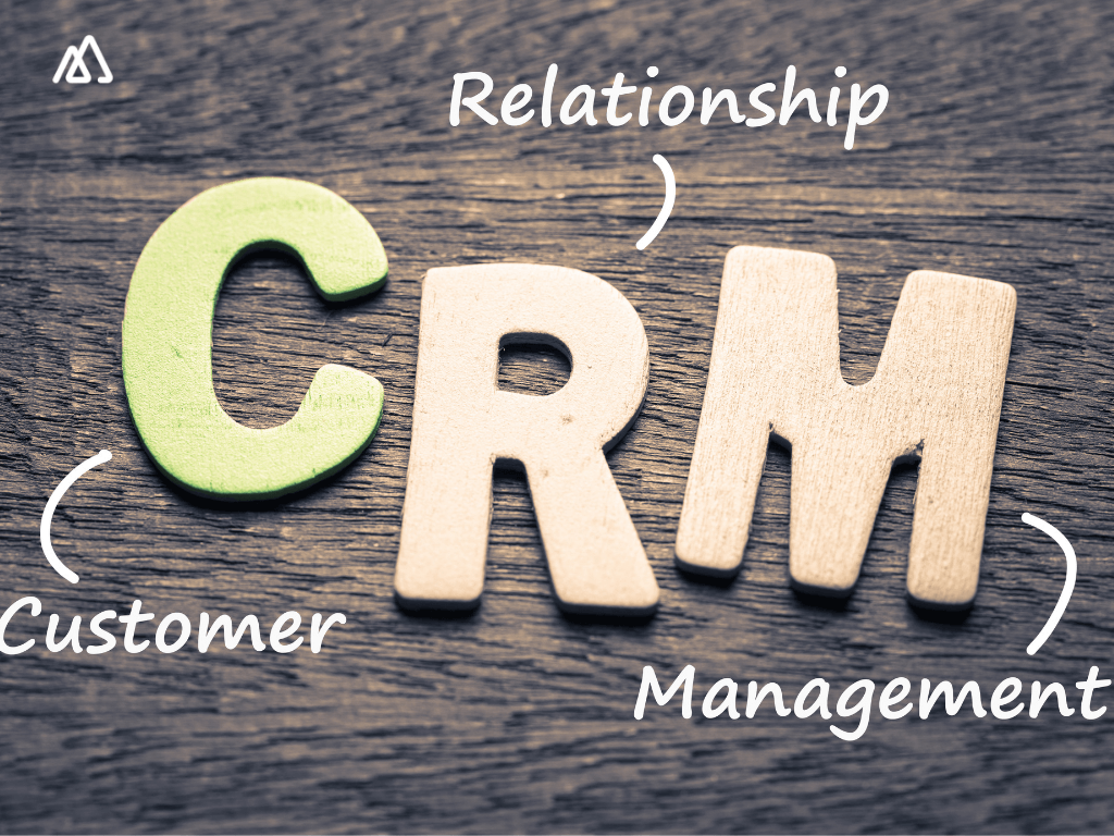 CRM written on a grey background